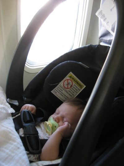 July 2009. Baby's first airplane ride!