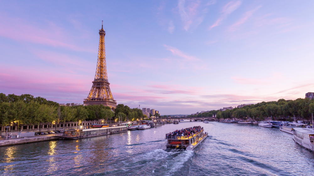 4k eiffel tower and seine river day to night sunset emeric s