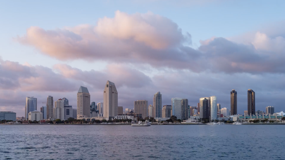 4K Downtown San Diego Skyline Day To Night Sunset