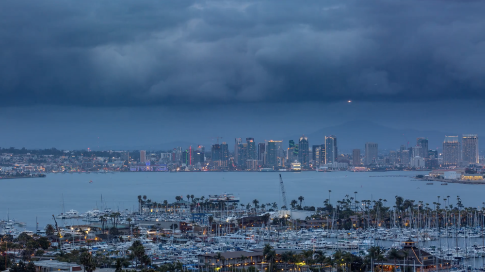 4K Downtown San Diego Skyline Day To Night Dark Clouds