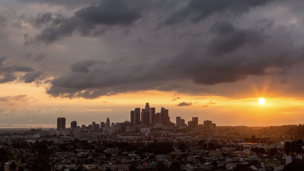 hd downtown los angeles day to night sunset with clouds emeric s