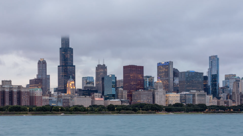 4k chicago skyline and lake michigan cloudscape day to night