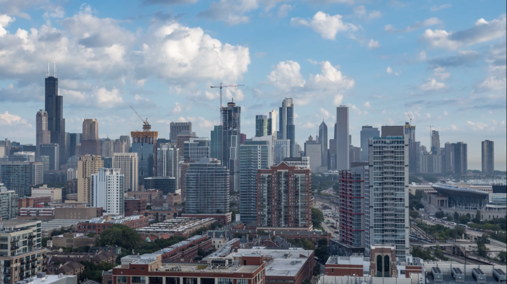 hd downtown chicago skyline with clouds day emeric s timelapse
