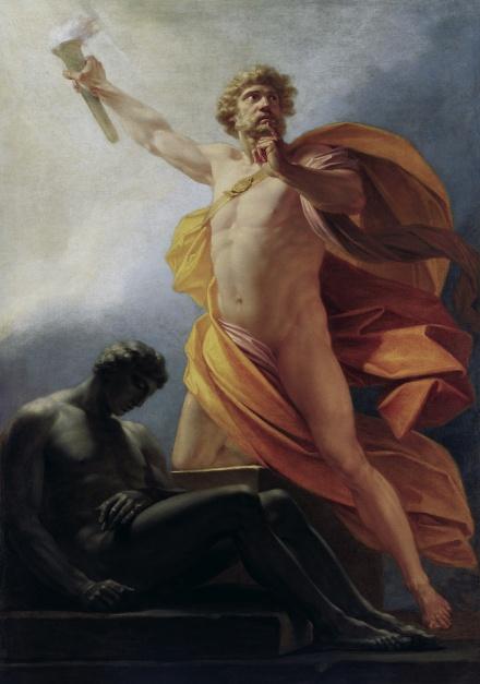 Prometheus with the fire of the Gods illuminates humankind