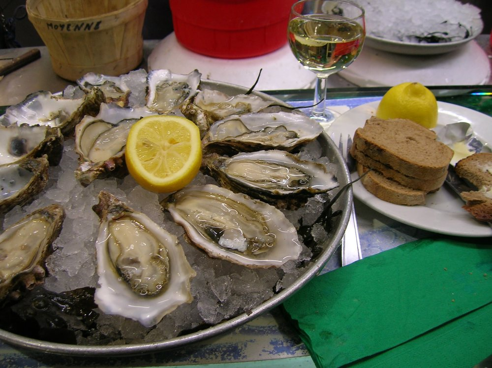 Atlantic oysters in a market in Lyon, France