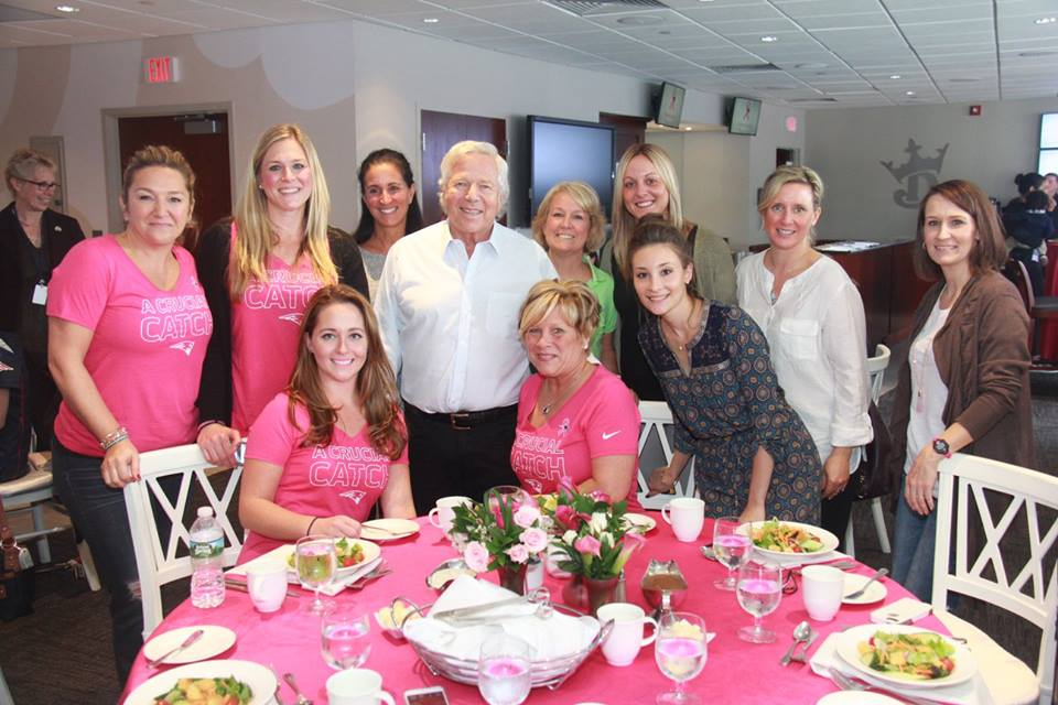 New England Patriots owner, Robert Kraft and Michelle Poverman, along with nine other  women helping to make an inspiring day for women with breast cancer.