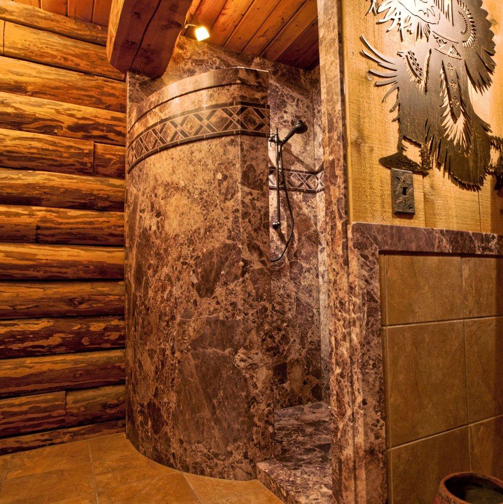 Cabin Bathroom Log Cabin Bathroom Christine Brun