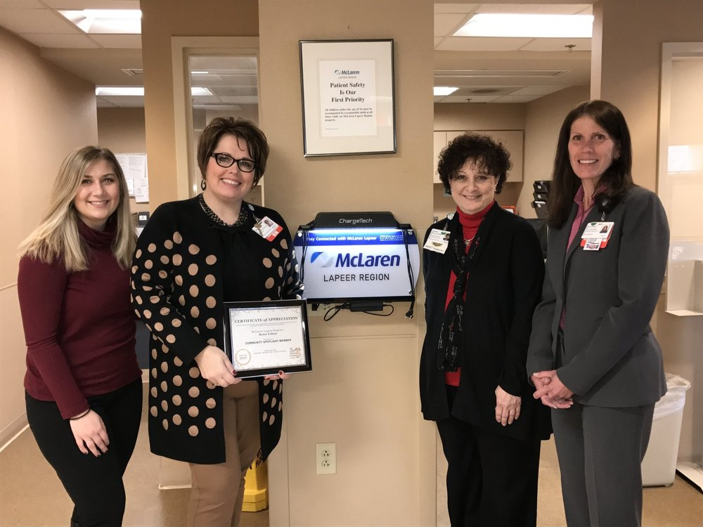 Left to Right:   Emily Sznitka ,  MDT Coordinator,  CAC Lapeer,  Betsy Felton ,  Director of Emergency Services and Women's Services,  McLaren Lapeer Region,  Susan Perry-Nolte  ,  Vice President of Marketing,  McLaren Lapeer Region,  Jan Nixon,   Chief Nursing Officer,  McLaren Lapeer Region
