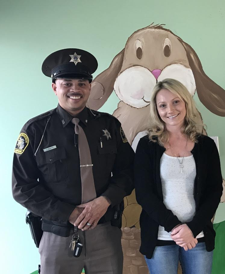 Deputy Jimmy White,  Child Advocacy Center's Sheriff Department Liaison  & Amanda Overland,  Child Advocacy Center's Prevention Coordinator / Family Advocate