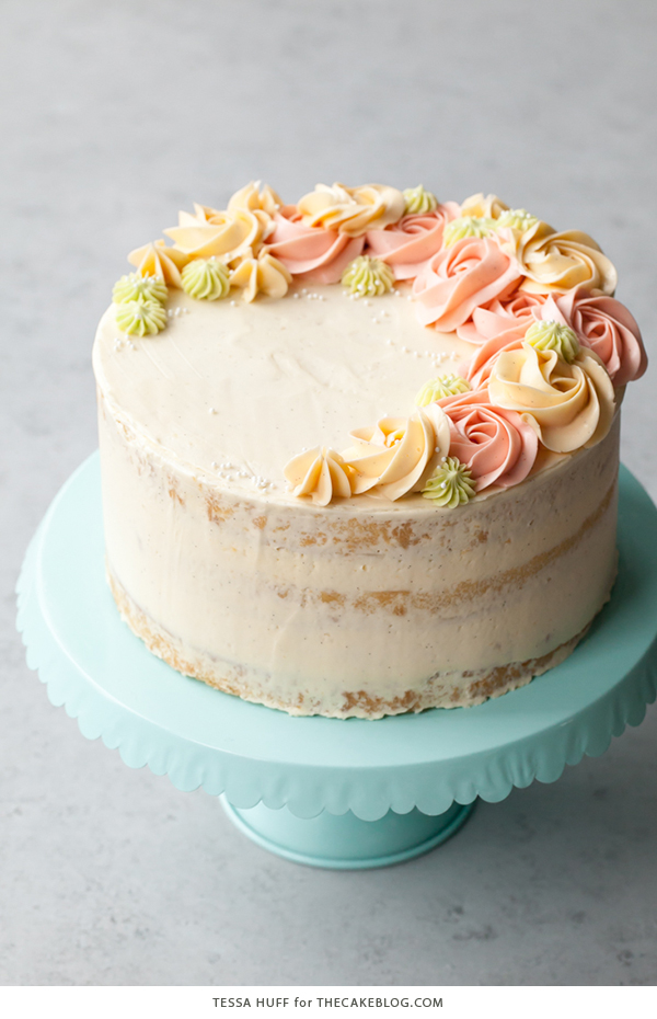 Coconut vanilla cake with piped florals! (source:  http://www.thecakeblog.com )