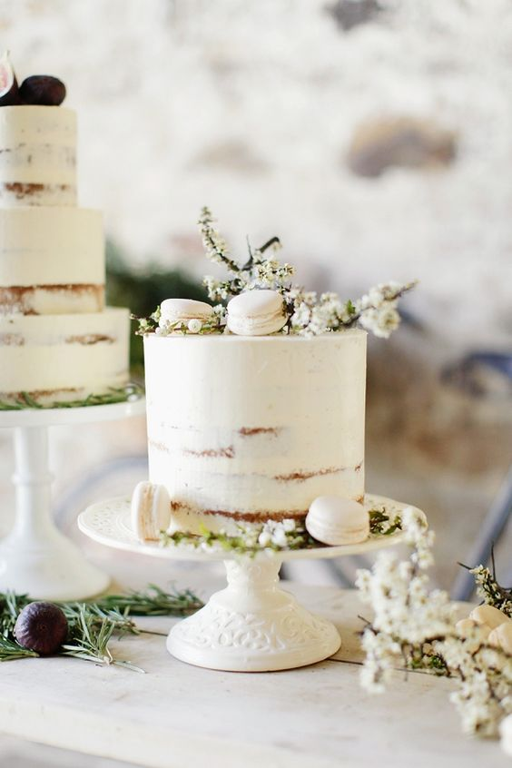 Simple + elegant cake with cherry blossoms + macaroons.