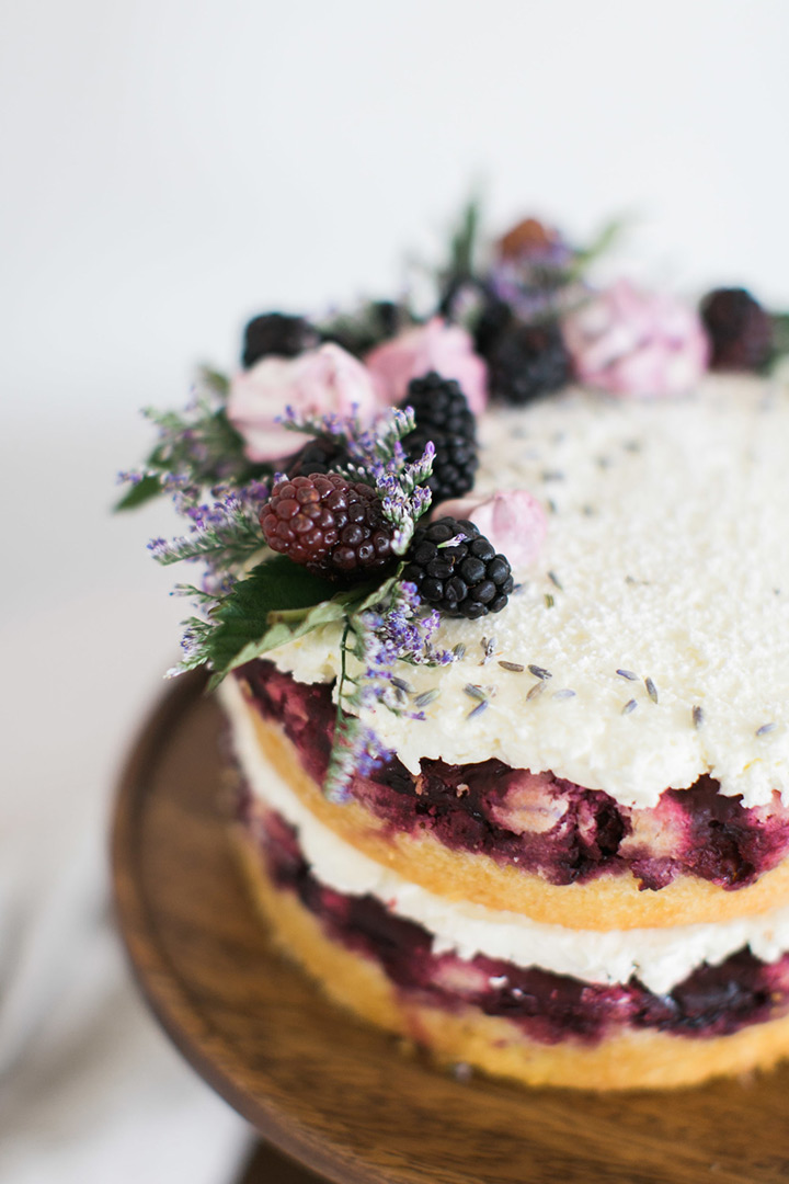 Naked cake with blackberry + lavender! Yum! (source: https://www.moncheribridals.com )