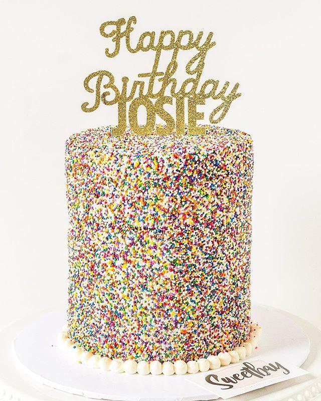 Been waiting for someone to order one of these sprinkle covered cakes! Happy birthday Josie! 🎈 ... .. . #sprinkles #sprinklecake #cake #cakes #ilovecake #cakesofinstagram #cakestagram #cakeforbreakfast #funfetti #funfetticake #caketopper #cakedecorating #cakedecorator #layercake #eatmorecake #cakery #cakeideas