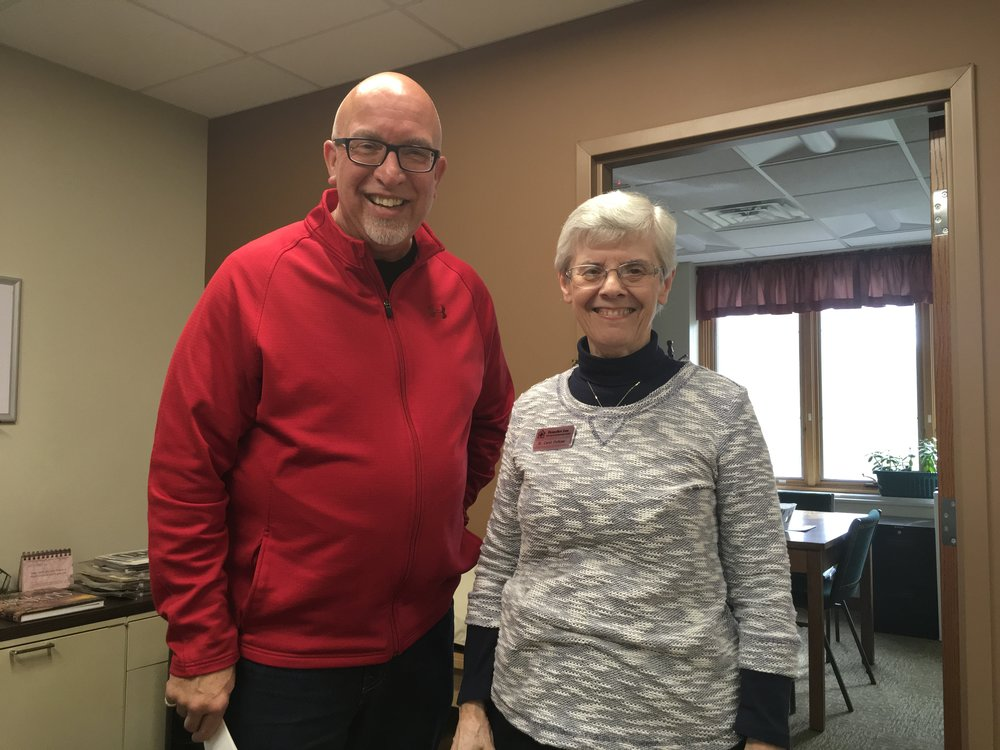 Here I am with sister Carol Faulkner, the director of the Benedict Inn and Retreat Center, Beech Grove, Indiana, on the southeast corner of Indianapolis. What a blessing.