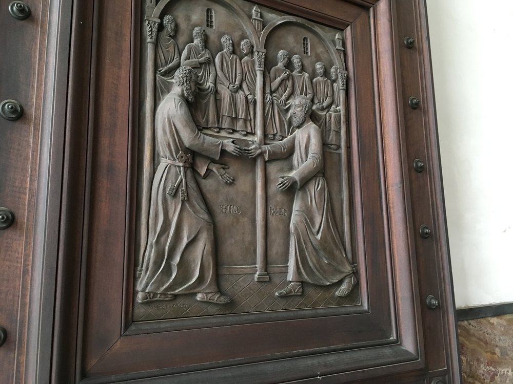 I love this engraved scene on a door to St. Paul's Basilica of Peter and Paul.