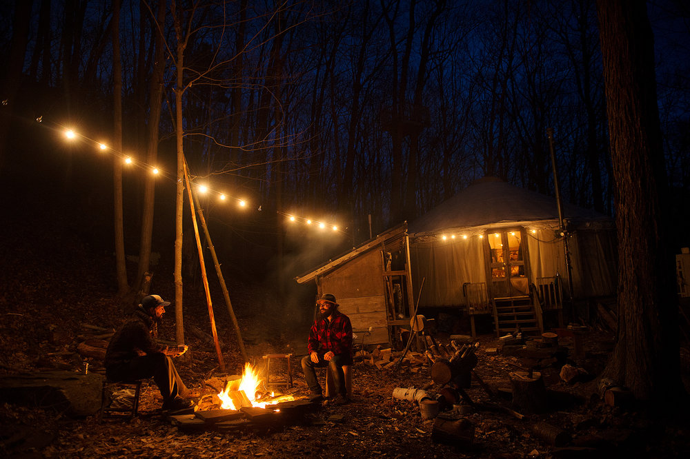 Carve round the campfire in the Catskill Mountains
