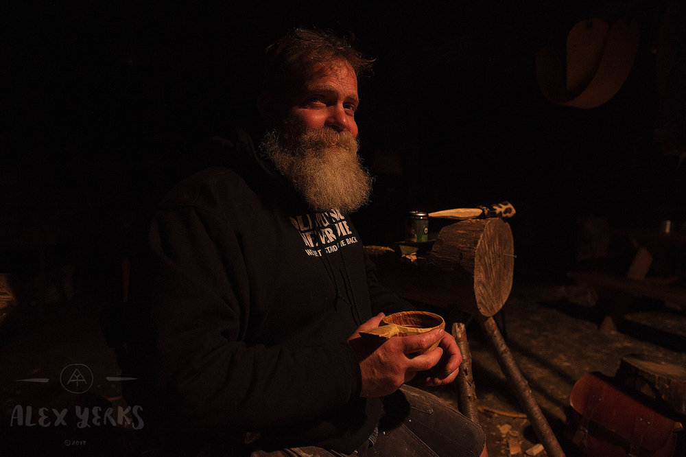 This is Eric from New Jersey. He visited the yurt last spring to take a kuksa course up in the Catskills where I lived at the time. He's been carving up a whole bunch of nice cups. It's good to test the latest ones with ale. Key research and development here.