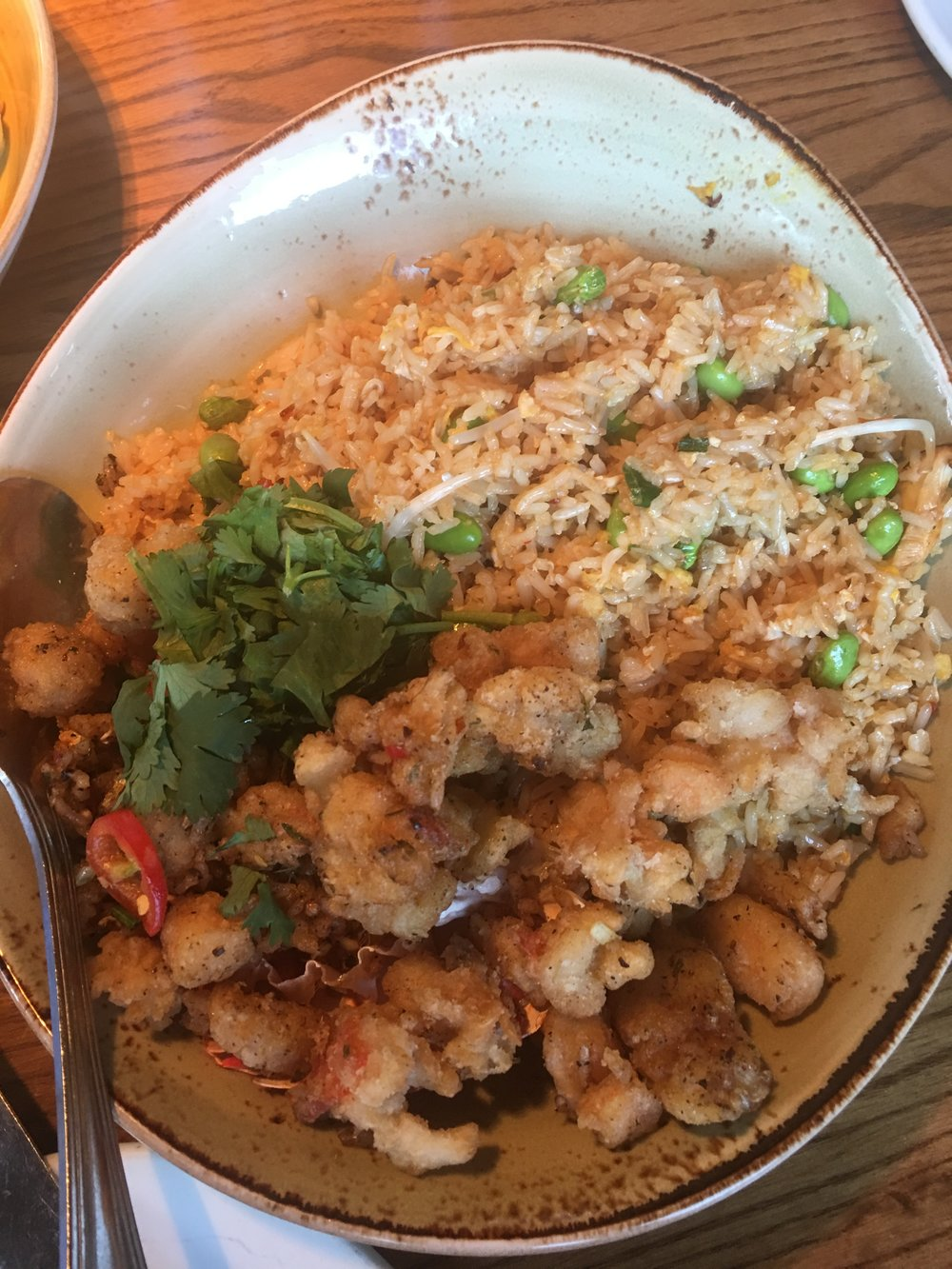 Chang's Lobster & Shrimp Rice :   Crisp pieces of lobster tail, shrimp, fresno peppers, shiitakes, egg