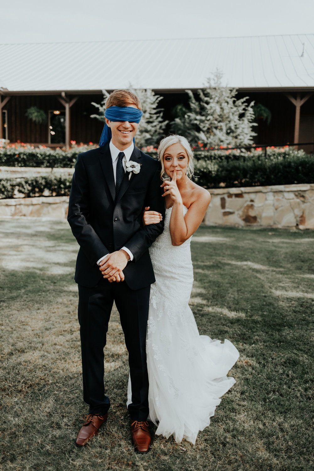 Yup, she blind folded him! When Katie told me her plan of doing photos prior to the ceremony but NOT seeing each other, I thought she was crazy. She explained to me how she had a friend who had done it and it worked out great for them! It takes some strategic placement, and some serious self control from the groom! But they pulled it off!
