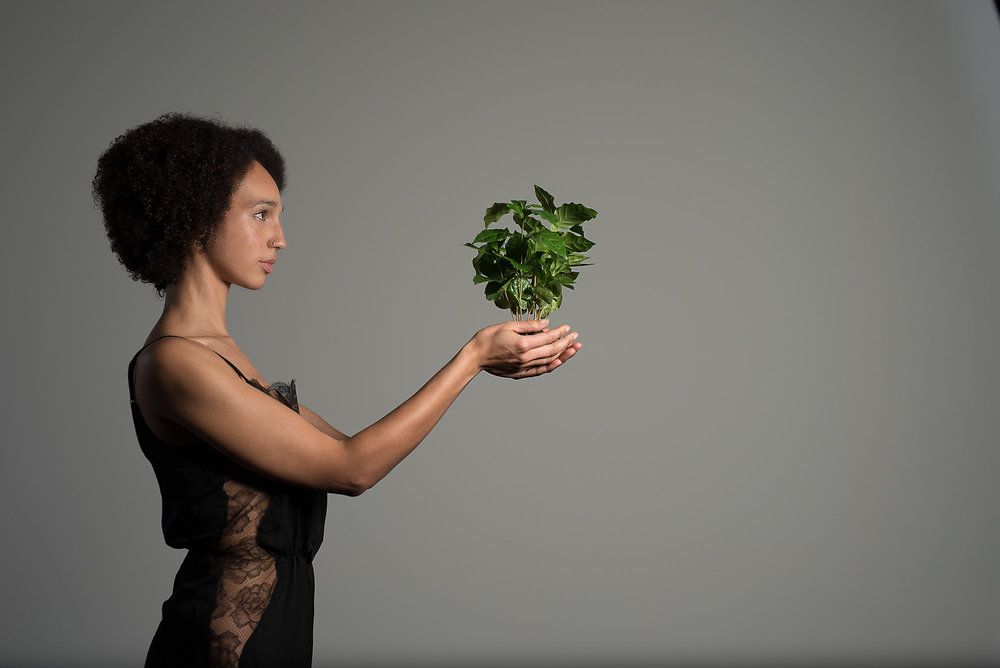 Cana Potter, MuseFlora founder, and a coffee plant ( Coffea ). (Photo credit Amanda Marie Studio; hair Chad Keast & Jeanne McCoy; makeup Jules Annen. Special thanks to Intelligent Nutrients, Minneapolis.)