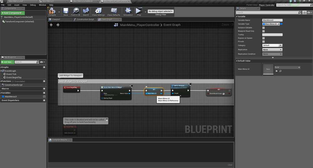 Unreal engine tutorial creating a gamepad friendly ui with edit the playercontroller blueprint and tell it to draw us our ui malvernweather Gallery