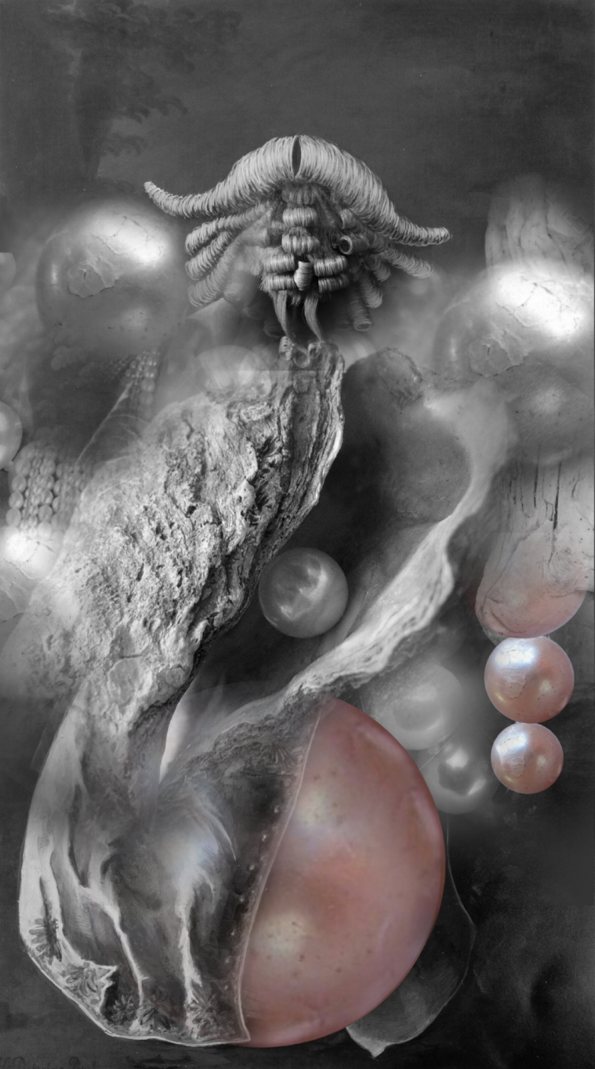 Wigs and Pearls , Digital Collage