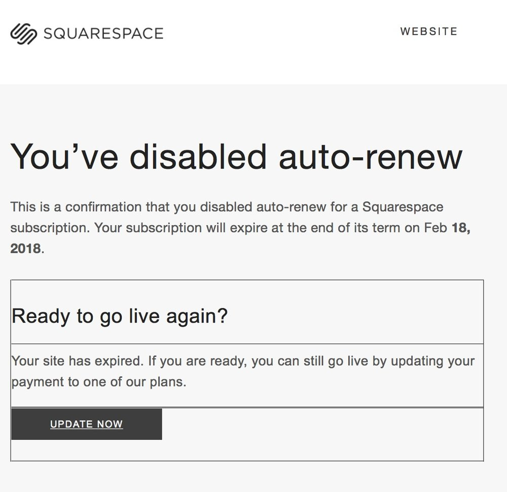 Screenshot of a fake spam email posing as Squarespace.