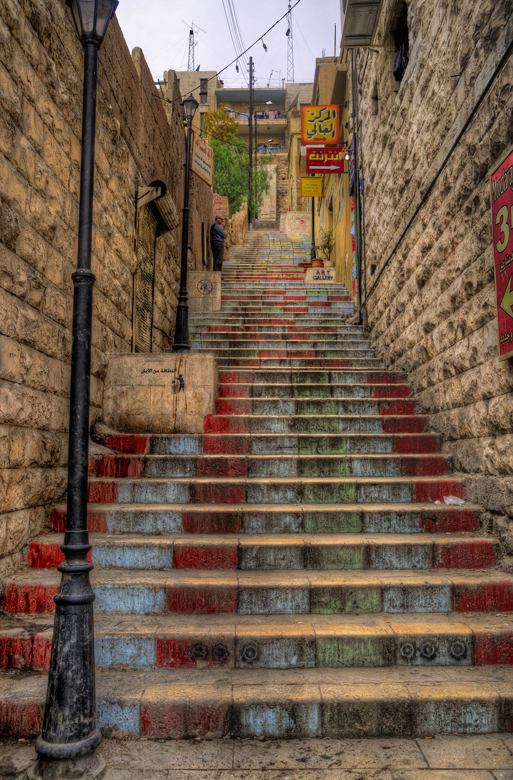 Long steps of stairs, a very common sight at the historical downtown of Amman.