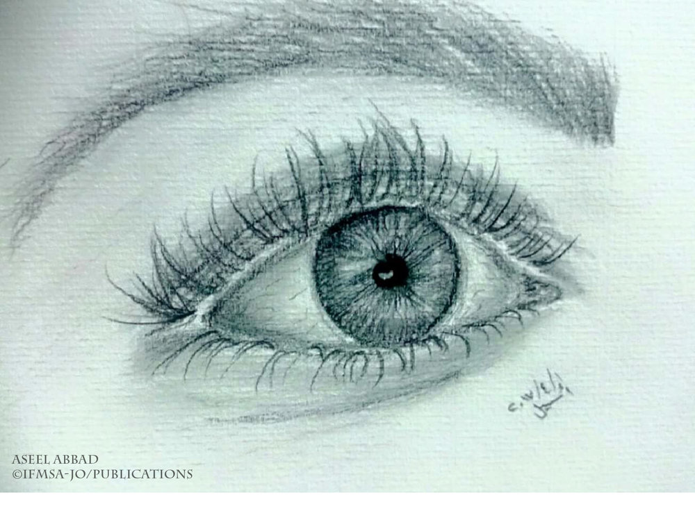 Drawing, for me, and for any artist I assume, is never a way to just spend time. Each piece of artwork carries hundreds and hundreds of reflections of what is felt within. This is a very simple drawing, done in 30 minutes, but means the world; all the love, passion, and promises hidden in the eyes; where there is nothing easier than to be drowned into and prisoned inside.  Aseel Abbad.