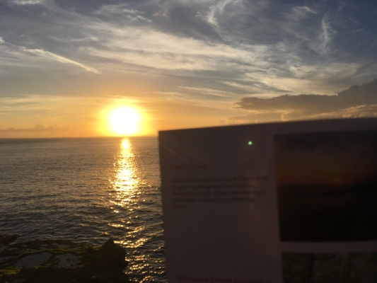 Enjoying a view of the beach, watching the sunset as recommended by Anywhr's Travelogue. Source: Stella