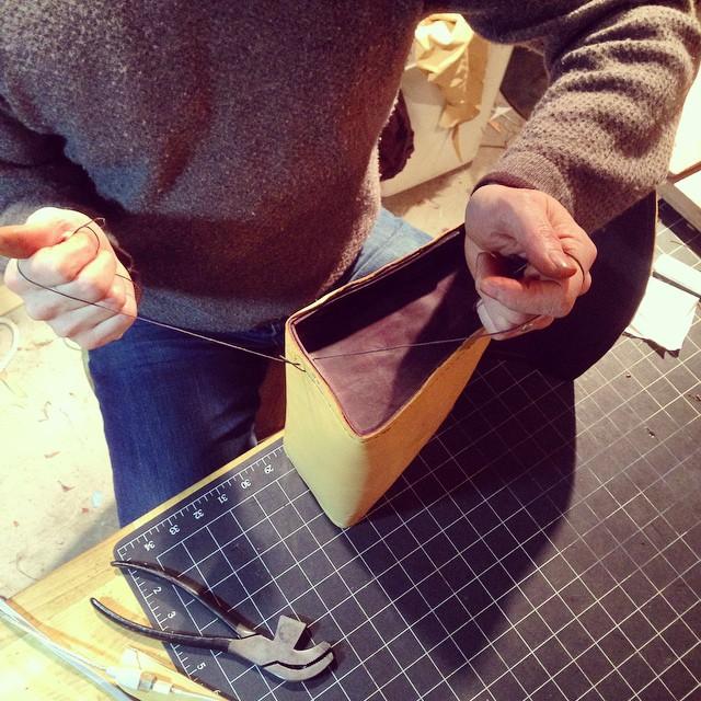 Hand sewing deerskin bag #2.