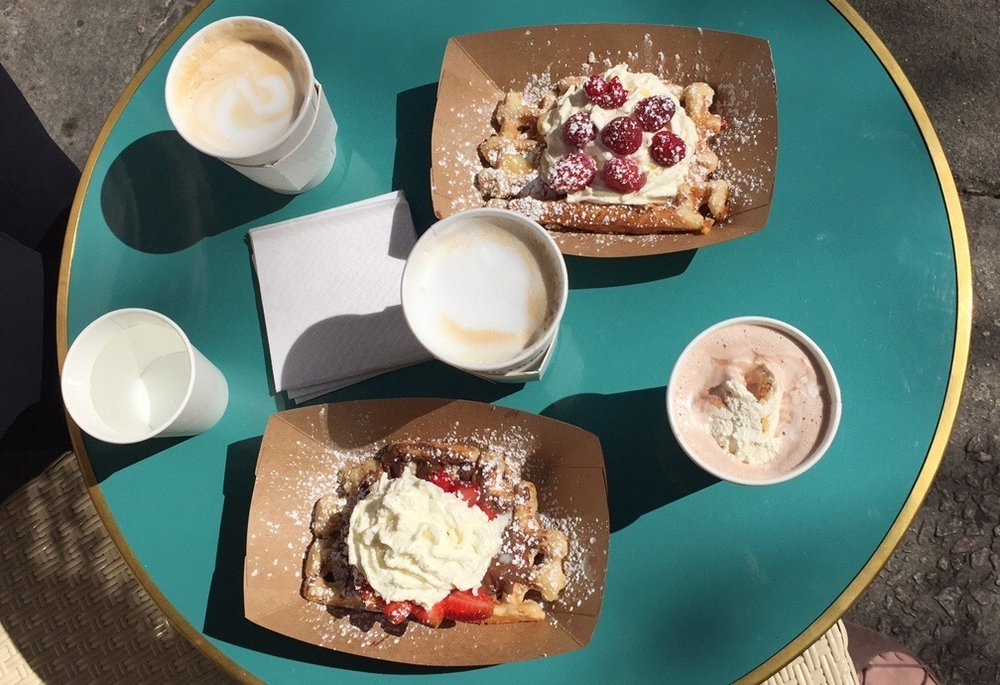My friend Scarlett ordered a Cinnamon Latte and the House Special waffle, which are the waffle pictured at the bottom and the drink on the far left.