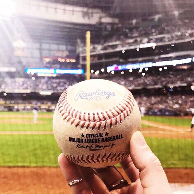 The @brewers had an exciting win last night! And I got a baseball ⚾️ 🙌🏻😍 #MyMidwestIsShowing