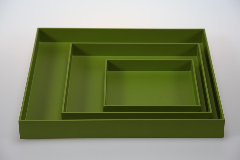 SQ TR-3- SET OF 3 SQUARE TRAYS IN MATT LACQUER, MOSS.jpeg