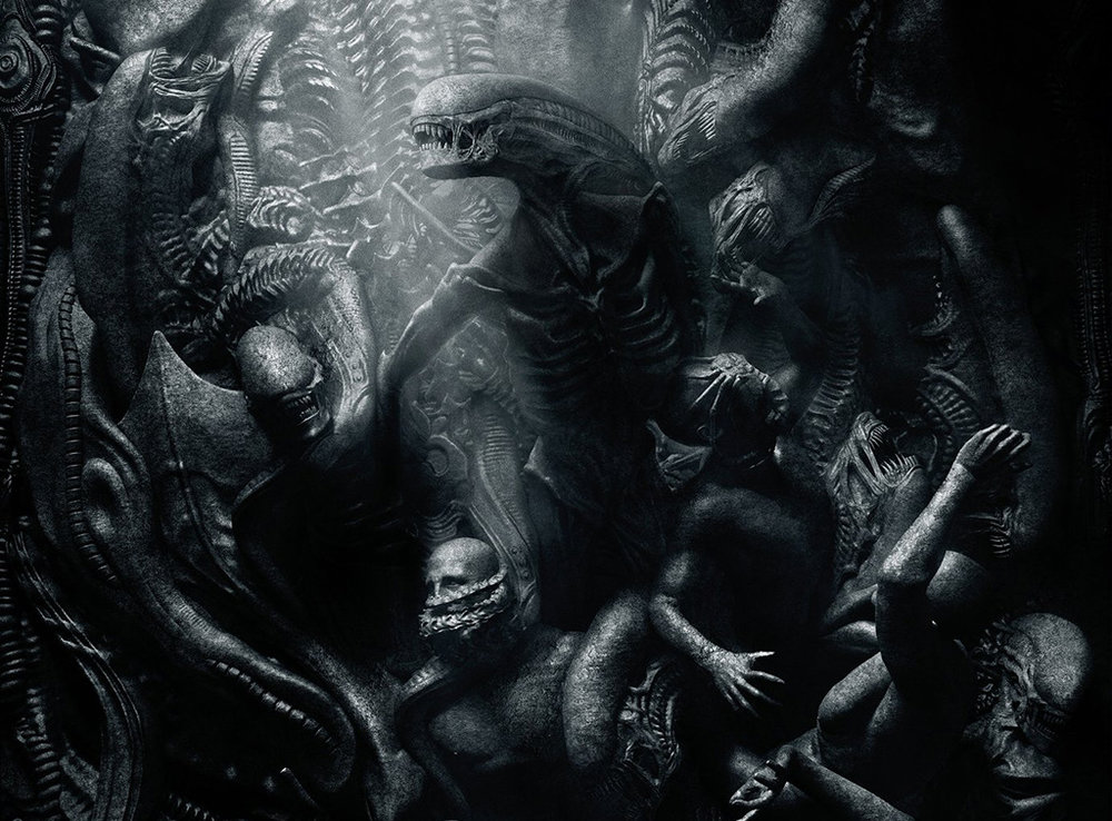 The Engineers and their creation battle it out in Gothic-style art in  Alien Covenant  (Image: 20th Century Fox)