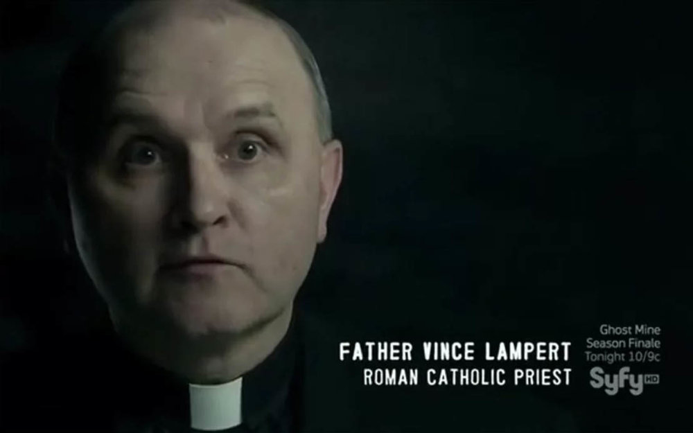 Father Vince Lampert on Paranormal Witness. Image: Syfy