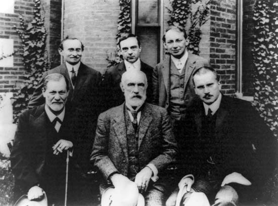 From left to right in the front row, Sigmund Freud, G. Stanley Hall, and Carl Jung on 10 September, 1909. Image: Library of Congress, Washington, D.C.