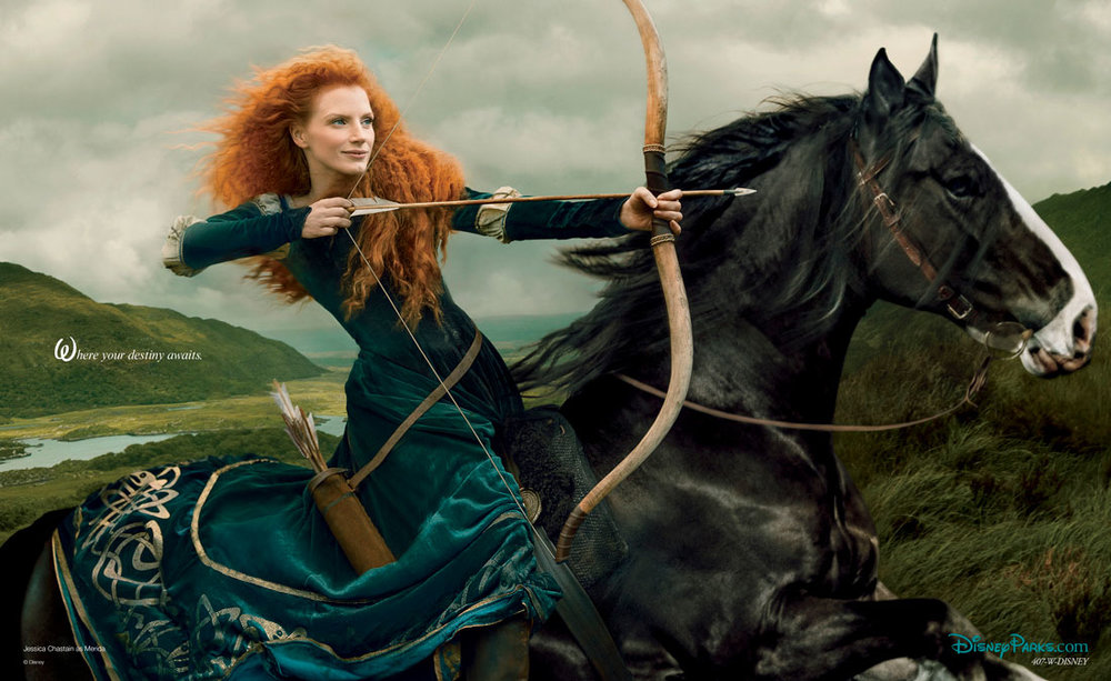 Jessica Chastain as Merida for the Disney Dream Portraits series for Disney Parks, photographed by Annie Leibovitz