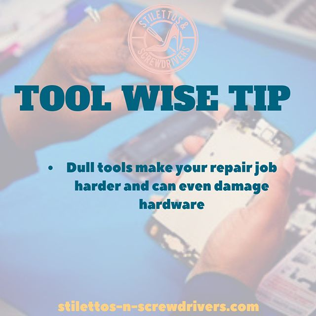 It may seem non essential, but dull tools or tools not made of sturdy quality can strip the hardware you are using it on. Making the repair that much harder! Ever tried removing a stripped screw🙄 exactly! Replace often and make sure it is of great quality! You'll thank me later..⠀⠀⠀⠀⠀⠀⠀⠀⠀ .⠀⠀⠀⠀⠀⠀⠀⠀⠀ ⠀⠀⠀⠀⠀⠀⠀⠀⠀ .⠀⠀⠀⠀⠀⠀⠀⠀⠀ .⠀⠀⠀⠀⠀⠀⠀⠀⠀ .⠀⠀⠀⠀⠀⠀⠀⠀⠀ .⠀⠀⠀⠀⠀⠀⠀⠀⠀ .⠀⠀⠀⠀⠀⠀⠀⠀⠀ #girltechs #girltechsrock #pocintech #womenintech #womeninintechnology  #techstartuptips #iphonerepair #ipadrepair #computerrepair #virtualacademy #blackcreatives #femaletech  #techgirls #girlswhocode #electronicrepair #womenwhohustle  #techtalk #diversityintech #femaletechnicians #ladiesthatfixthings #repairgirls #womentechs #wocintech #steam #stem #stemgirls #electronics #womenconstruction #womenbuilders