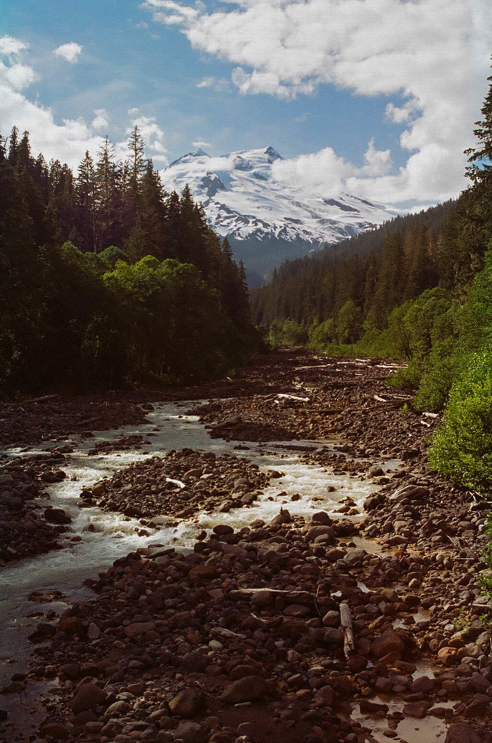 Mt. Baker seen from one of the creek crossings on the way to Baker Lake; Kodak Gold 200