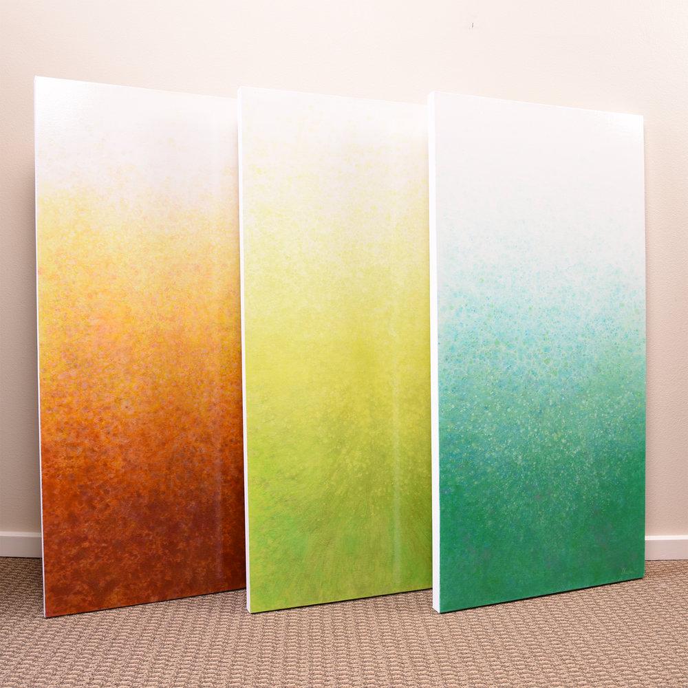 "Shimmer Series ""Sun Kissed Earth"" ""Spring Vitality"" & ""Aqua Burst"" 4'h x 2'w"