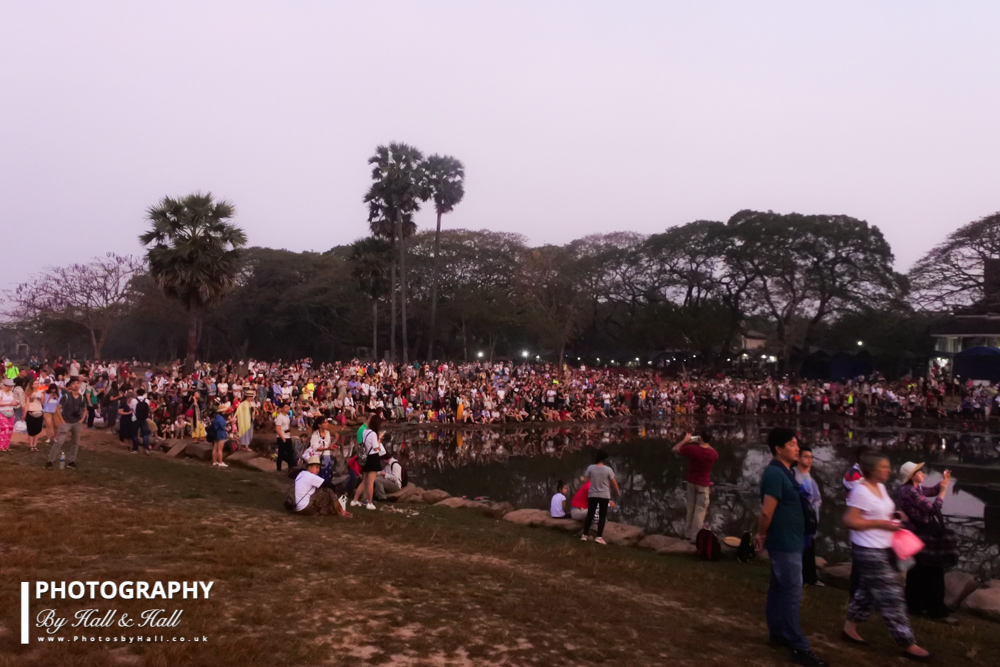 People waiting for the sunrise at Angkor Wat!