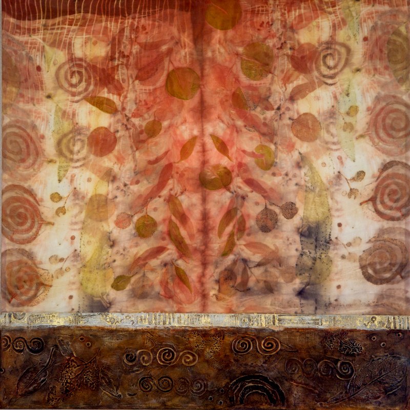 """Eco Dye Immersion 2 24"""" x 24"""" eco dyed silk and mixed media $1200"""