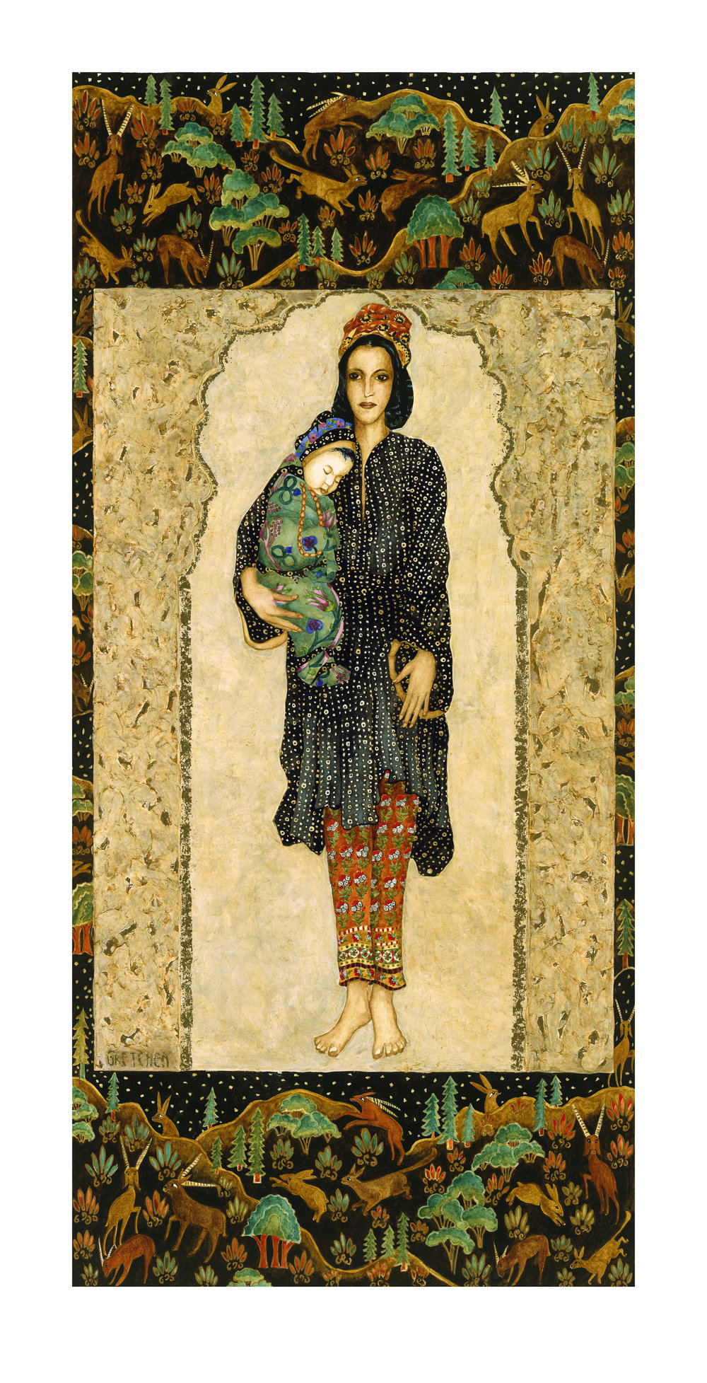 """""""Middle Eastern Figure"""" limited edition print on german etching paper  """"11.5"""" x 25"""" $150."""