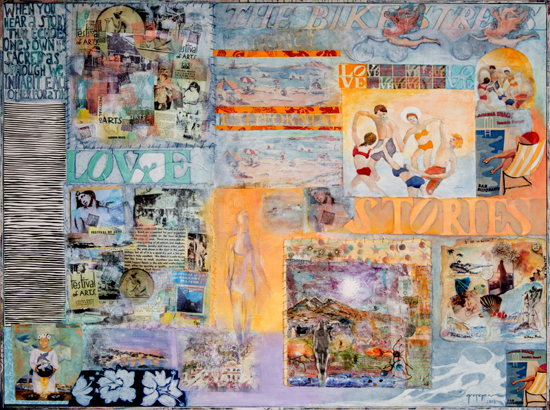 """""""LOVE STORIES"""" original mixed media 3' x 4' panel, created with participants from Laguna Beach. Funded in part by the Festival of the Arts grant to LOCA (Laguna Outreach for Community Arts) Facilitated, assembled and integrated by Gretchen Shannon"""