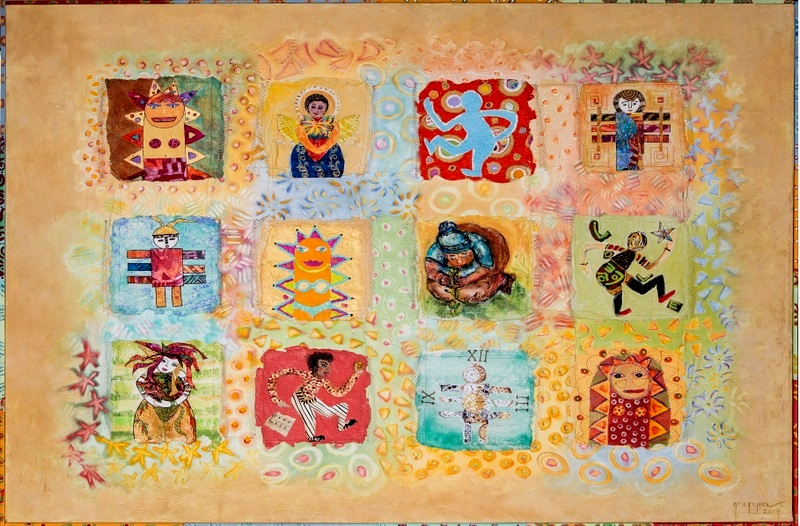 """""""California Quilt"""" original mixed media 3' x 4' panel, created with participants from Laguna Beach. Facilitated, assembled and integrated by Gretchen Shannon"""
