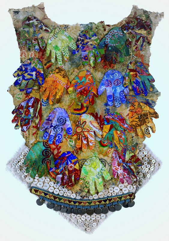 """""""Community Breast Shield"""" original mixed media 17"""" x 22"""". Created with kids art from Philadelphia inner city school project, funded in part by Pennsylvania Council of the Arts. Facitlitated, assembed and integrated by Gretchen Shannon and Linda Goss."""