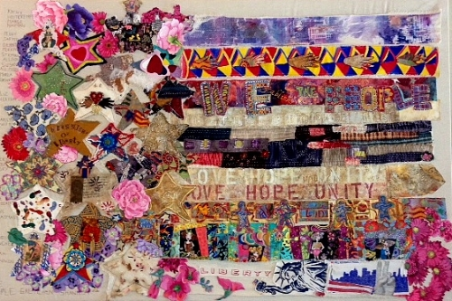 """""""WE THE PEOPLE"""" original mixed media 3' x 4' panel, created in 2016 with participants from the United States of America. Facilitated, assembled and integrated by Gretchen Shannon"""