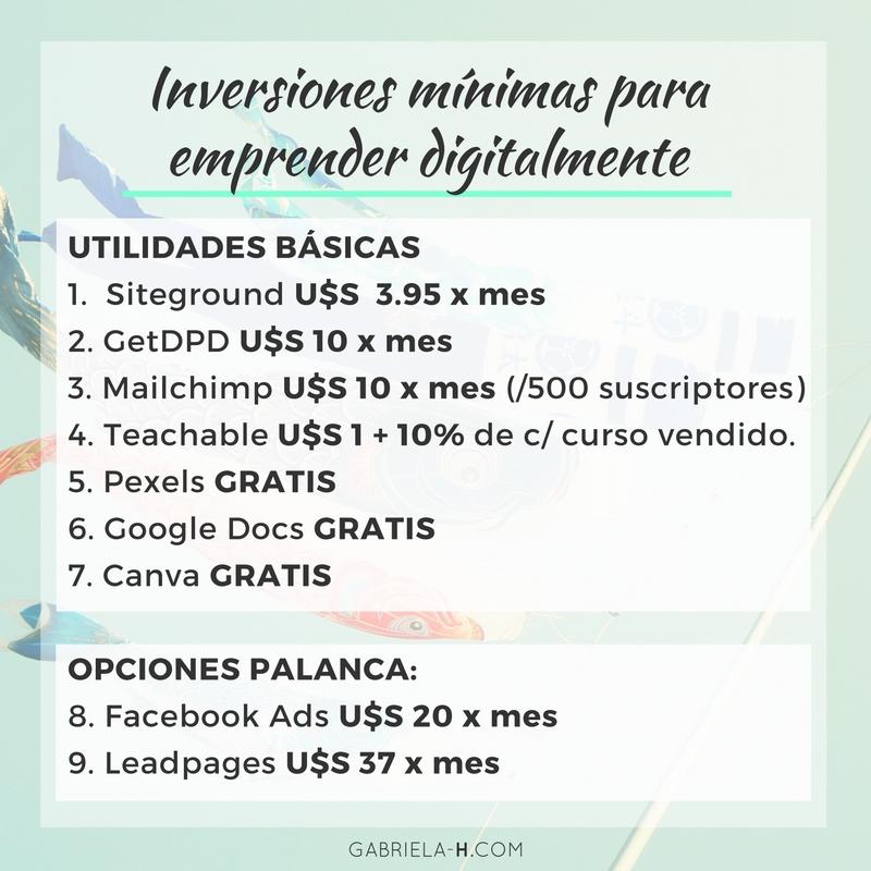 Inversiones minimas para emprender digitalmente: 5 formas no tradicionales de ganar dinero online + las inversiones necesarias para hacerlo.
