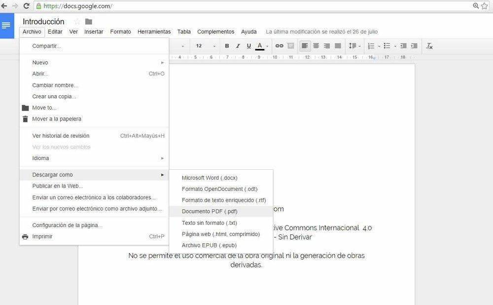 Para crear PDFs vas a Archivo // Descargar como // Documento de PDF .. Re fácil!!!